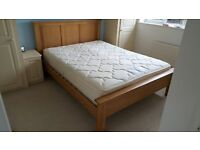 Oak kingsize bed frame and mattress (if required)
