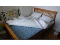 Solid pine frame double bed (with mattress if wanted)