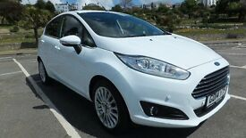 Ford Fiesta titanium 1.6 with automatic gearbox in frozen white.
