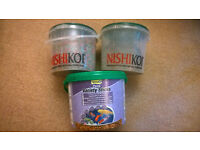 3 Buckets of Fish Food: NISHIKOI Multi-Sticks, and TETRA Pond Variety Sticks for Koi, goldfish, etc
