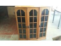 Light oak glass-front case/cabinet
