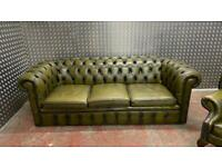Stunning vintage 3 seater leather chesterfield sofa £650