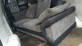 Black and grey chunky cord sofas 3 and 2