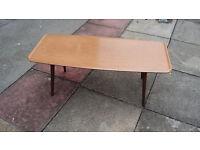 1960s type light brown wood coffee table