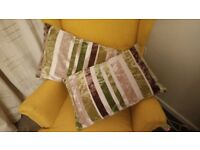 Green brown stripped cushions, super condition, velvet fabric material, homebase/habitat originals