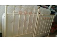 Pretty Feather and Black cream iron bedstead