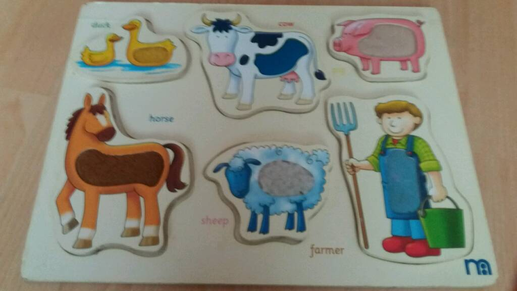 Mothercare touch & feel wooden farm puzzle see pics