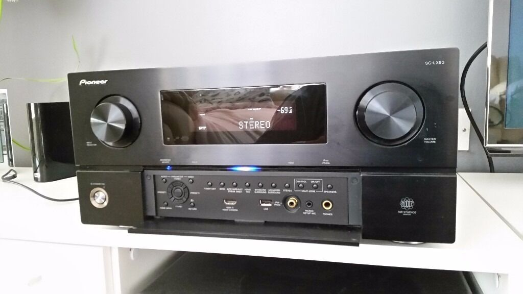 Pioneer SC LX83 av receiverin Chafford Hundred, EssexGumtree - Pioneer Lx83 high end home cinema receiver,7.1,3D,190w/chanell,rrp 2000pounds,all genuine accesorries included remote control,aerial,cd with manual instruction,bluetooth adaptor,calibration mic,..etc,20kg weight,like new condition almost not used,can...