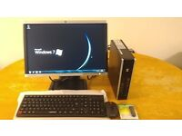 """ADD SSD- SAVE £30 -- HP Elite Business Ultra Small Form Desktop PC Tower HP Pavilion 20"""" Wide LCD"""