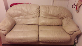 3 seat white leather sofa