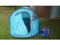 3 man pop up tent, brand new silent night inflatable bed & lantern