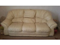 Leather Sofa (three seater) - cream colour waiting for new home