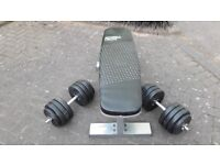 MIRAFIT WEIGHTS BENCH & 2 x 19.5KG DUMBBELL WEIGHTS SET