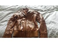 Girls brown leather jacket size age 11/12