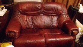 Beautiful WIne-red Italian Leather 2-Seater Settee and Armchair - £200