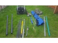 Job lot of fishing equipment. 2 poles, 1 rod, 1 team milo fully equip box/seat and much more