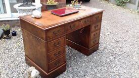 Burr Walnut Antique Reproduction Leather Top Pedestal Writing Desk / Table