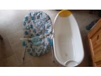 infant and toddler rocker and baby bath