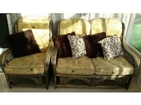 Conservatory Suite - wooden framed 2 seater chair and 2 single armchairs with scatter cushions