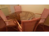 Bistro Glass Top Table & 4 Chairs