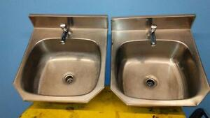 HEAVY DUTY HAND SINKS WITH PRESS DOWN FAUCETS