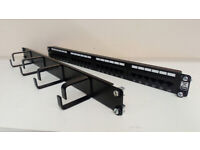 Excel CAT5e – 24 Port Patch Panel with cable management bar and screws
