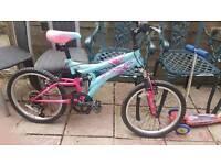"Girls mountain bike dual suspension 8-13 yeard 5speed 20"" wheels"