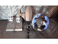 Logitec force feedback steering wheel with pedals for PS2/3