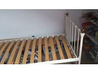 Lovely ivory cast iron single bed with mattress
