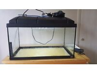 60L fish tank with working light and free filter.