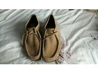 Mens Clarks Sand Leather Wallabies