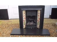 Vintage Victorian Tiled Cast Iron Fireplace, Grate & Slate Hearth