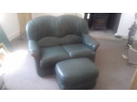 Leather 2 seater sofa and stool. EXCELLANT CONDITION. Been in storage £70