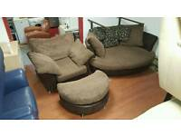 Corner group sofa cuddler and puffee and armchair in brown corduroy