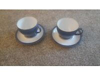 Denby Imperial Blue Large Teacups and Saucers