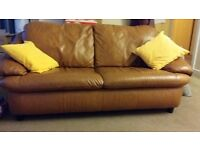 3 Seater leather Sofa with free cussionsx2
