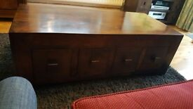 Solid wood / Brown coffee table with drawers