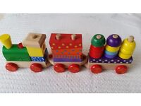 ToysRus light and sound stacking wooden steam train pull along toy