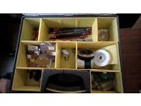 fishing kit. rods x2 reel. sea fishing tackle + box.coarse fishing tackle, floats hooks, feeders,