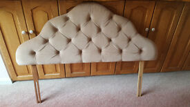 Vintage / Retro Beige Padded Double Headboard, Bedroom Furniture, Beds