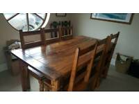 Large refectory dining table and 6 chairs.