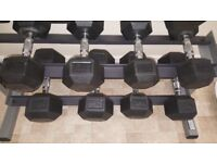 Nearly New Body Solid 3 Tier Rack and Set Of Dumbells