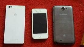 3 mobiles (faulty) iphone samsung note2 huawei