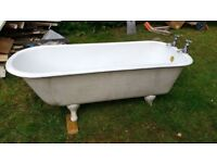 Vintage, cast iron, roll top bath, free standing, good condition.