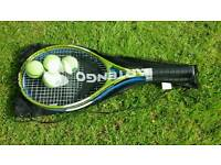 TWO TENNIS RACQUETS AND BALLS IN CARRYING CASE