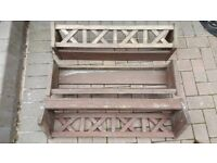 Set of 3 Decorative Wooden wall troughs