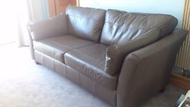 Leather Sofa, Ash Grey colour - paid £2,500. Like new as hardly used.