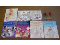 7x adult colouring books + gel pens