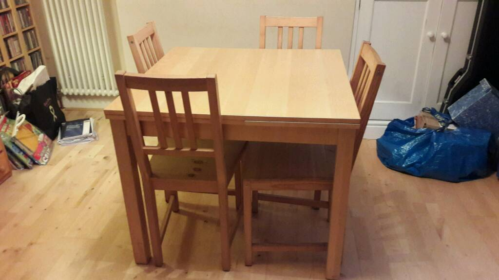 Ikea Solid Birch Veneer Extendable Dining Table With 6