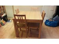 Ikea Solid Birch/Veneer Extendable Dining Table with 6 pine chairs